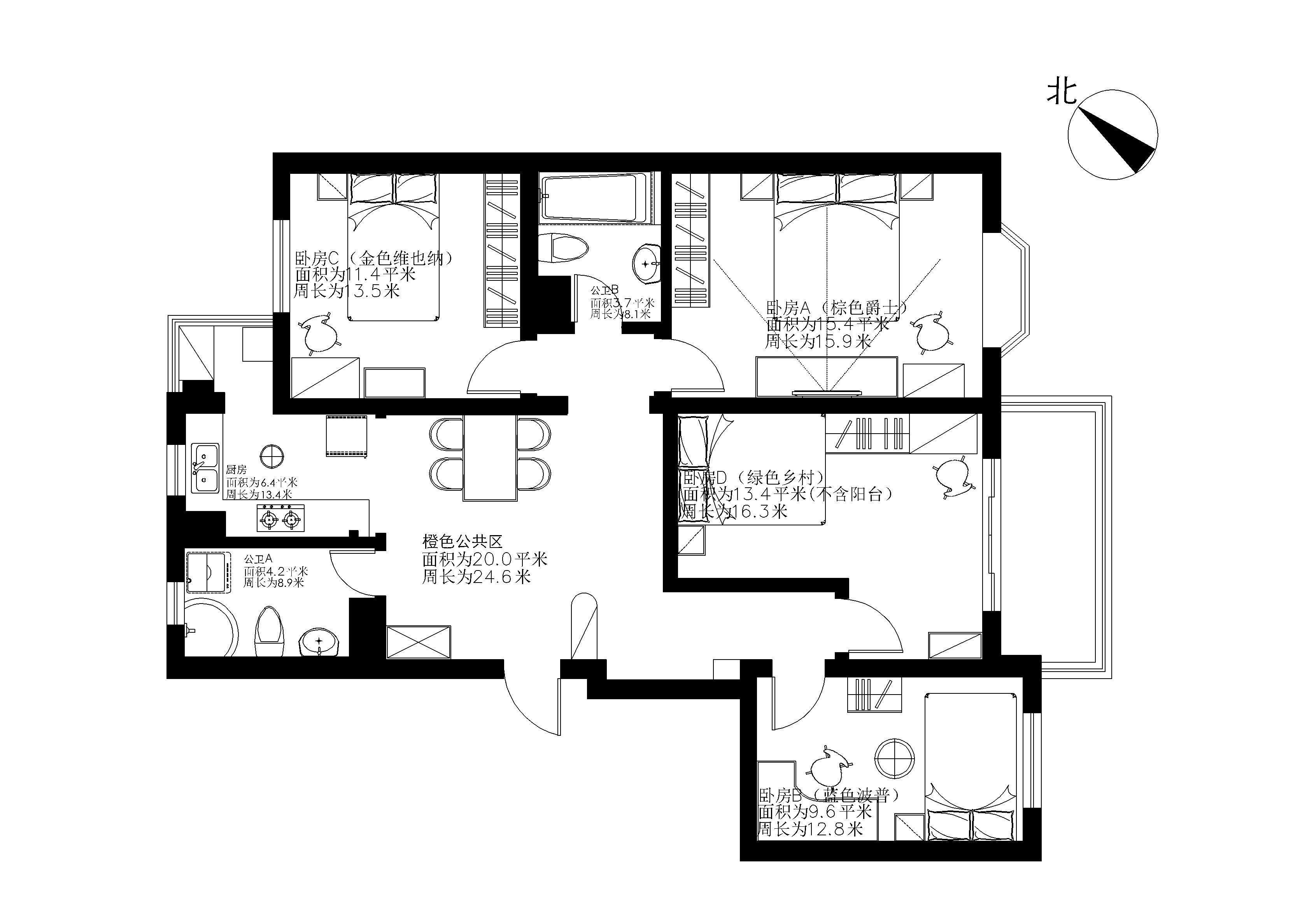 农村一层房屋设计图四室一厅