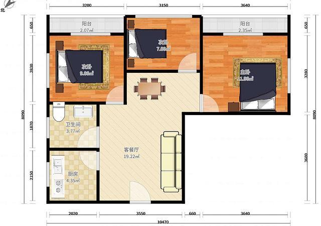 坪山区-豪方菁园-3室2厅1卫-82.5㎡