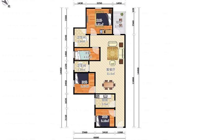 坪山区-万科金域缇香(二期)-4室2厅2卫-87.8㎡