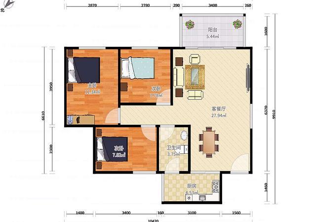 坪山区-大东城二期-3室2厅1卫-77.7㎡